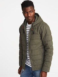 Quilted-Poplin Hooded Jacket for Men