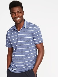 Go-Dry Striped Performance Polo for Men