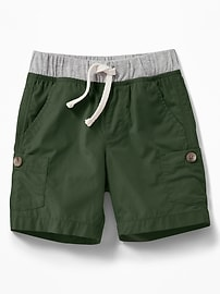 Jersey-Waist Poplin Cargo Shorts for Toddler Boys