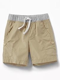 Jersey-Waist Poplin Cargo Shorts for Toddler Boys