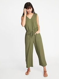 Combinaison-pantalon en sergé sans manches de style militaire pour femme