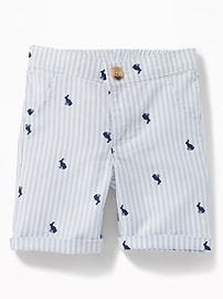 Patterned Rolled-Cuff Oxford Shorts for Baby