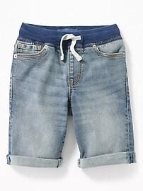 Rib-Waist Built-In Flex Max Karate Denim Shorts for Boys