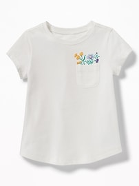 Chest-Pocket Graphic Tee for Toddler Girls