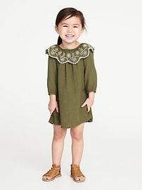 Eyelet-Ruffle Swing Dress for Toddler Girls