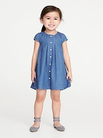 Chambray Swing Shirt Dress for Toddler Girls
