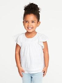 Flutter-Sleeve Dobby Top for Toddler Girls