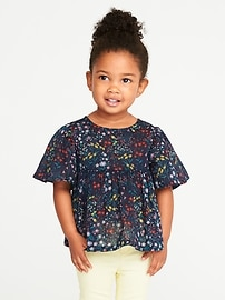 Floral-Print Babydoll Top for Toddler Girls
