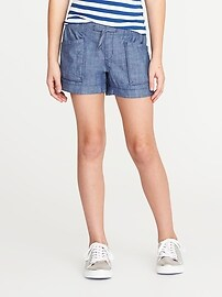 Chambray Utility Pull-On Shorts for Girls