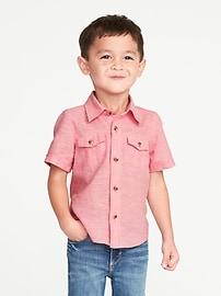 Chemise en mélange de lin à deux poches pour tout-petit garçon