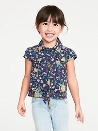 Floral-Print Tie-Hem Shirt for Toddler Girls