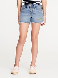 Short coupé en denim brodé pour fille