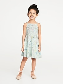 Floral-Print Apron-Neck Cami Dress for Toddler Girls