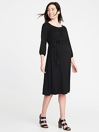 Maternity Smocked-Neck Tie-Belt Jersey Dress