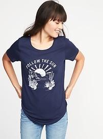 T-shirt à imprimé décontracté à ourlet arrondi pour femme