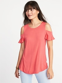 High-Neck Cold-Shoulder Swing Top for Women