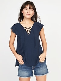 Relaxed Lace-Up-Yoke Babydoll Top for Women