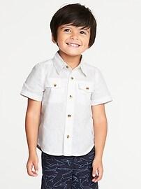 Double-Pocket Linen-Blend Shirt for Toddler Boys