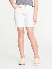White Denim Midi Shorts for Girls
