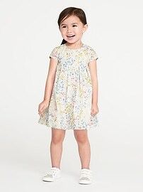 Floral Button-Front Swing Dress for Toddler Girls