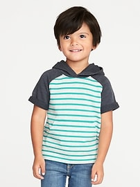 Color-Block Striped French Terry Hoodie for Toddler Boys