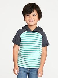 Haut à capuchon en jersey bouclette rayé à couleurs contrastantes pour tout-petit garçon