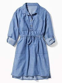 Robe-chemise militaire indigo pour fille