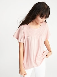 Smocked-Yoke Flutter-Sleeve Top for Women