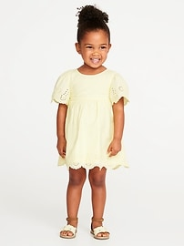Flutter-Sleeve Eyelet Dress for Toddler Girls