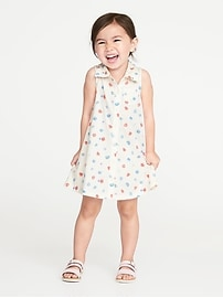 Printed Sleeveless Jersey Shirt Dress for Toddler Girls