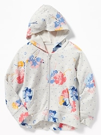 Floral-Print Fleece Zip Hoodie for Girls