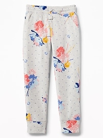 Floral-Print Fleece Joggers for Girls