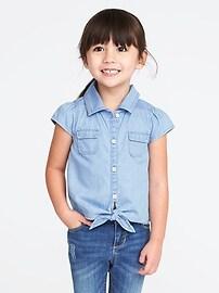 Chemise en cambrai à ourlet noué pour toute-petite fille