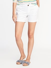 """Mid-Rise Everyday Twill Shorts for Women (5"""")"""