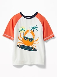Crab-Graphic Rashguard for Toddler Boys