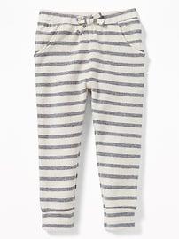 Pantalon d'entraînement en tissu éponge rayé pour toute-petite fille
