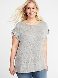 Haut à épaules ouvertes en tricot pelucheux, taille Plus