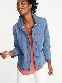 Button-Front Denim Chore Jacket for Women