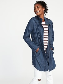 Hooded Long-Line Chambray Utility Jacket for Women