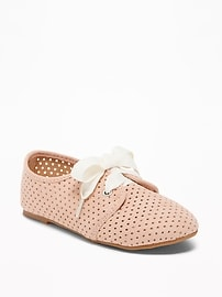 Sueded Perforated Oxfords for Toddler Girls
