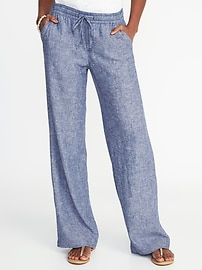 Mid-Rise Linen-Blend Wide-Leg Pants for Women