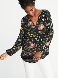 Relaxed Floral-Printed Shirred Blouse for Women