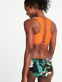 Haut de bikini bain-de-soleil avec dos lacé pour femme