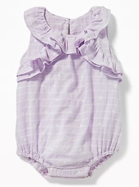 Ruffled Dobby-Stripe Bubble One-Piece for Baby