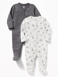 Patterned Footed One-Piece 2-Pack for Baby