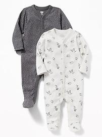 Une-pièce à pieds à motifs pour bébé (paquet de2)