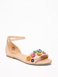 Flower-Applique Peep-Toe Sandals for Women