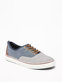 Color-Blocked Chambray Lace-Up Sneakers for Boys