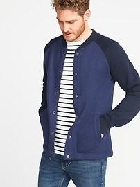 Raglan-Sleeve Fleece Bomber Jacket for Men