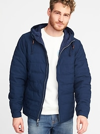 Hooded Quilted Poplin Jacket for Men